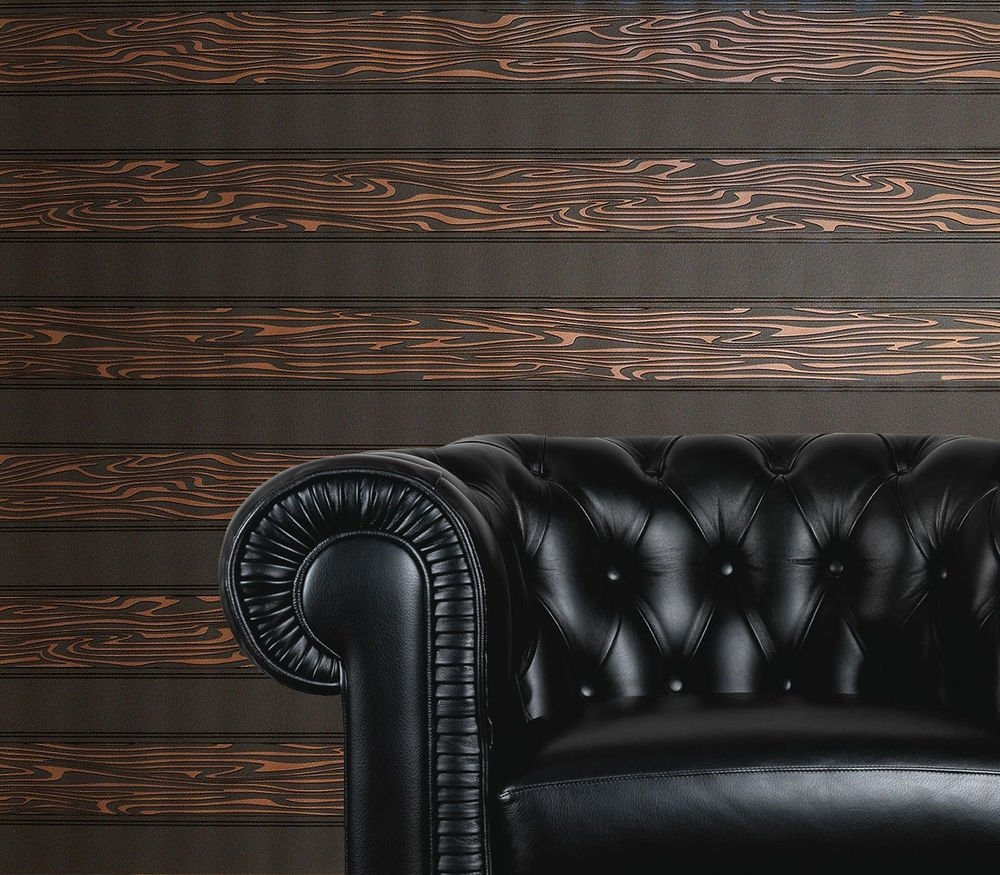 BROWN BLACK STRIPED BLOWN VINYL WALLPAPER Paste the Wall eBay 1000x875
