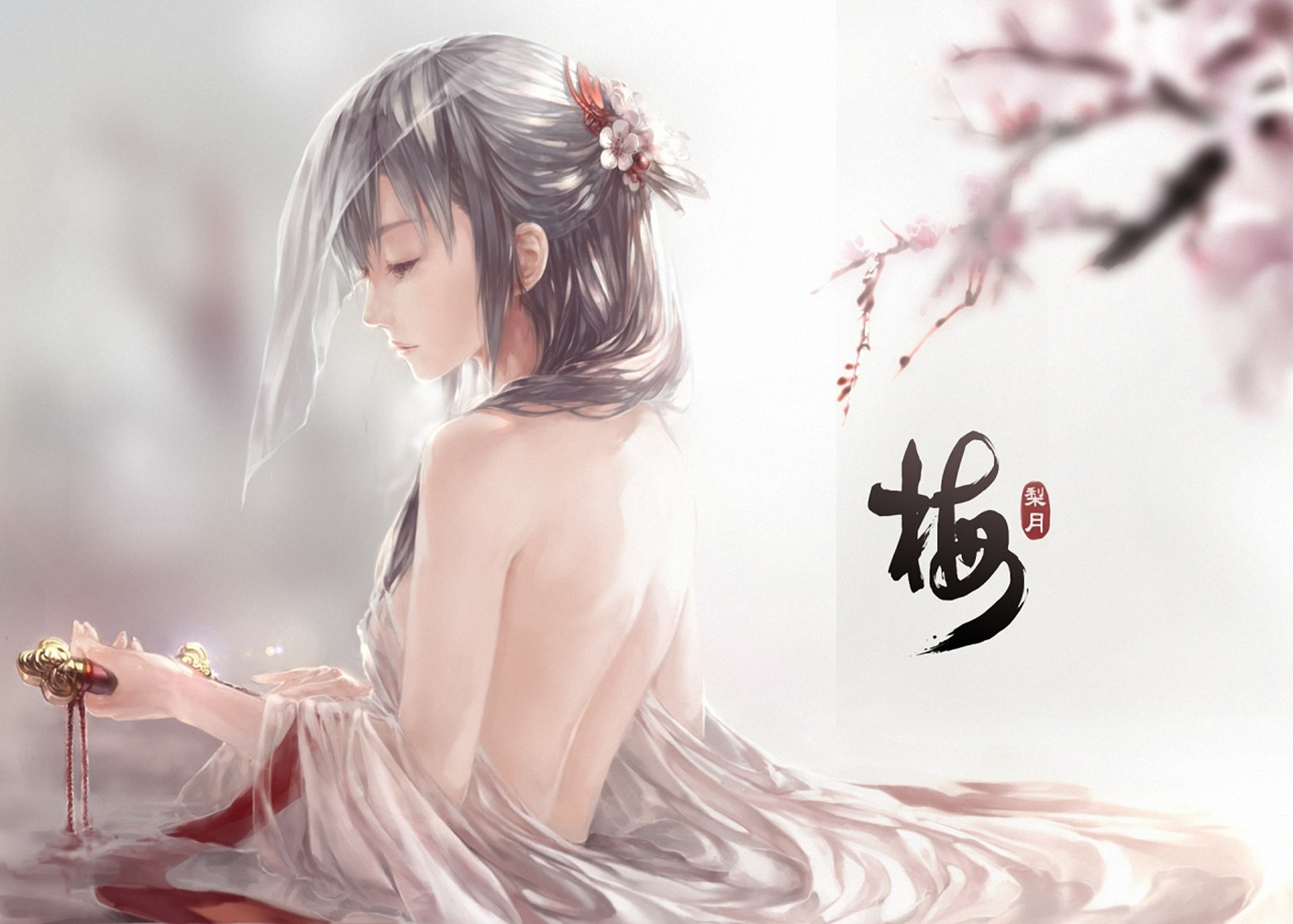 Beautiful Girl Sad Face Cherry Blossom Anime HD Wallpaper Desktop PC 1410x1008