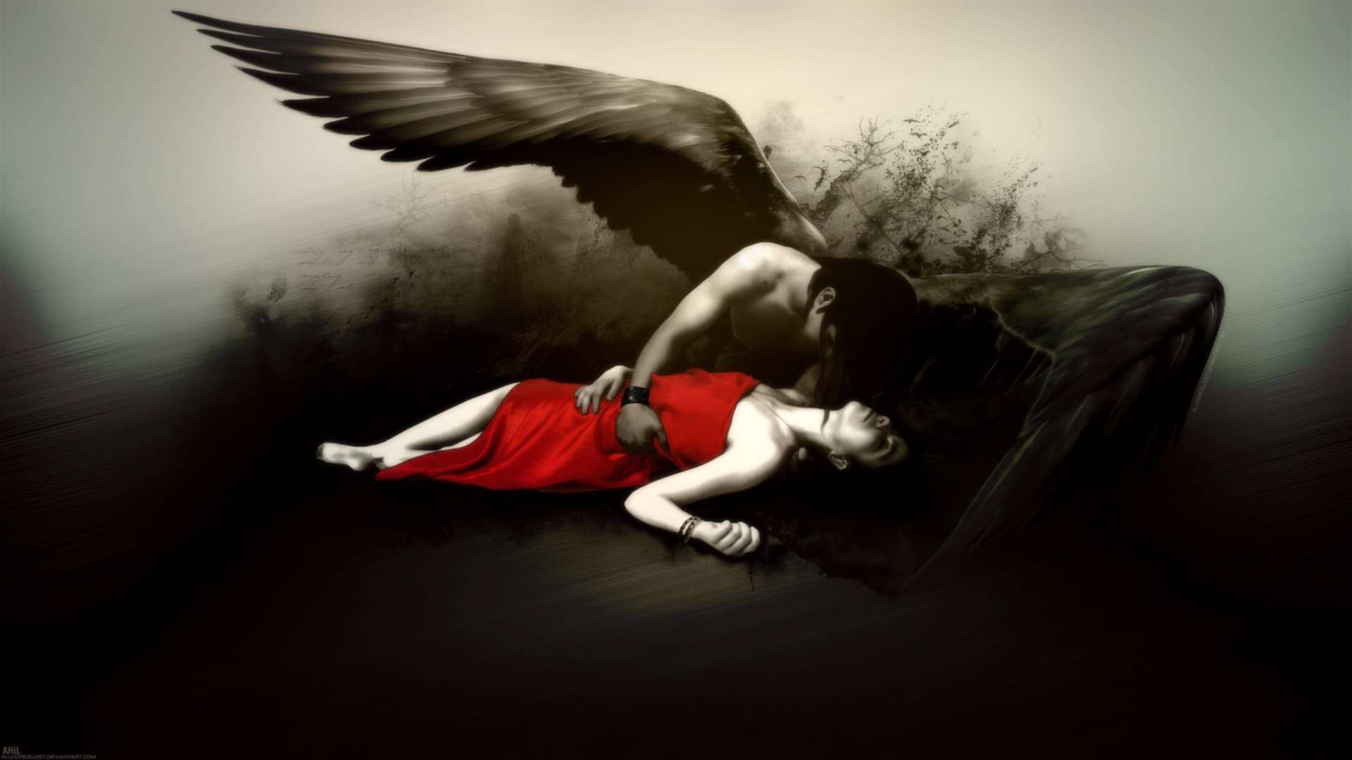 fantasy fallen angel gothic dark wings mood emotion sad sorrow death 1920x1080