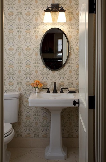 traditional powder room room plumbing fixtures clay panel lavatory 422x640