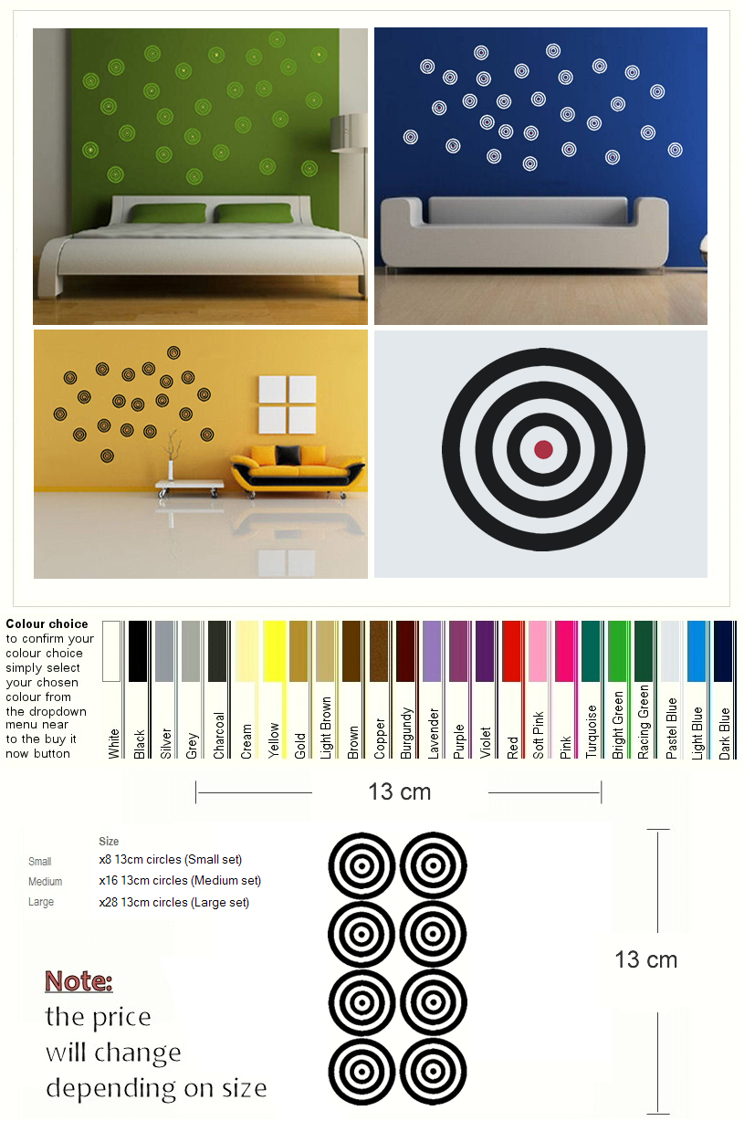 X28 TARGET SPOT DOT MODERN WALL ART DECAL STICKER kids vinyl stencil 815x1228