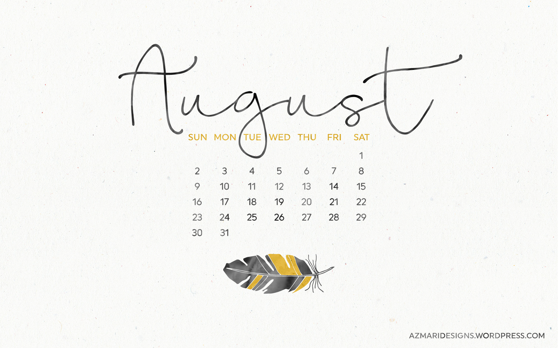 August 2015 Desktop Wallpaper Calendar Azmari Designs 1920x1200