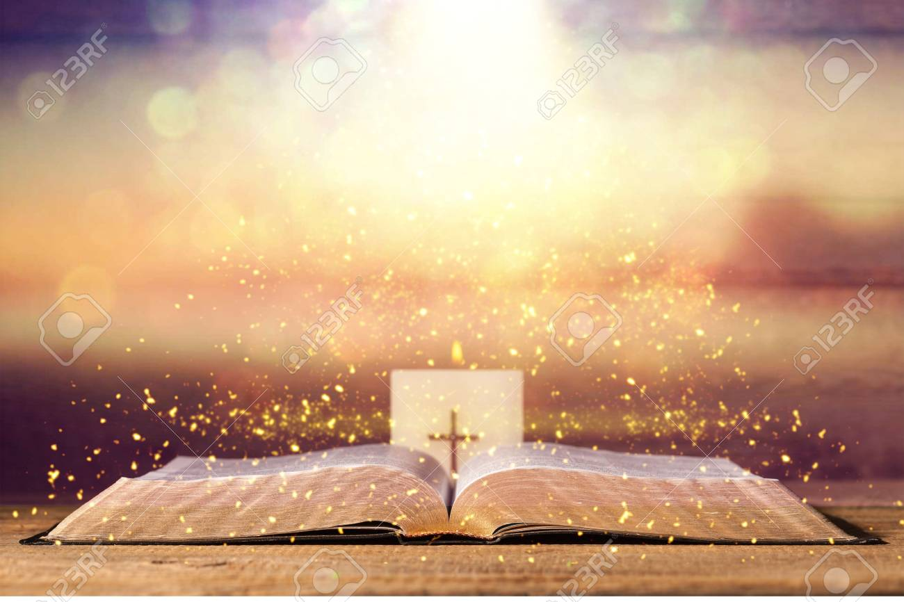 Open Holy Bible Book On Background Stock Photo Picture And 1300x866