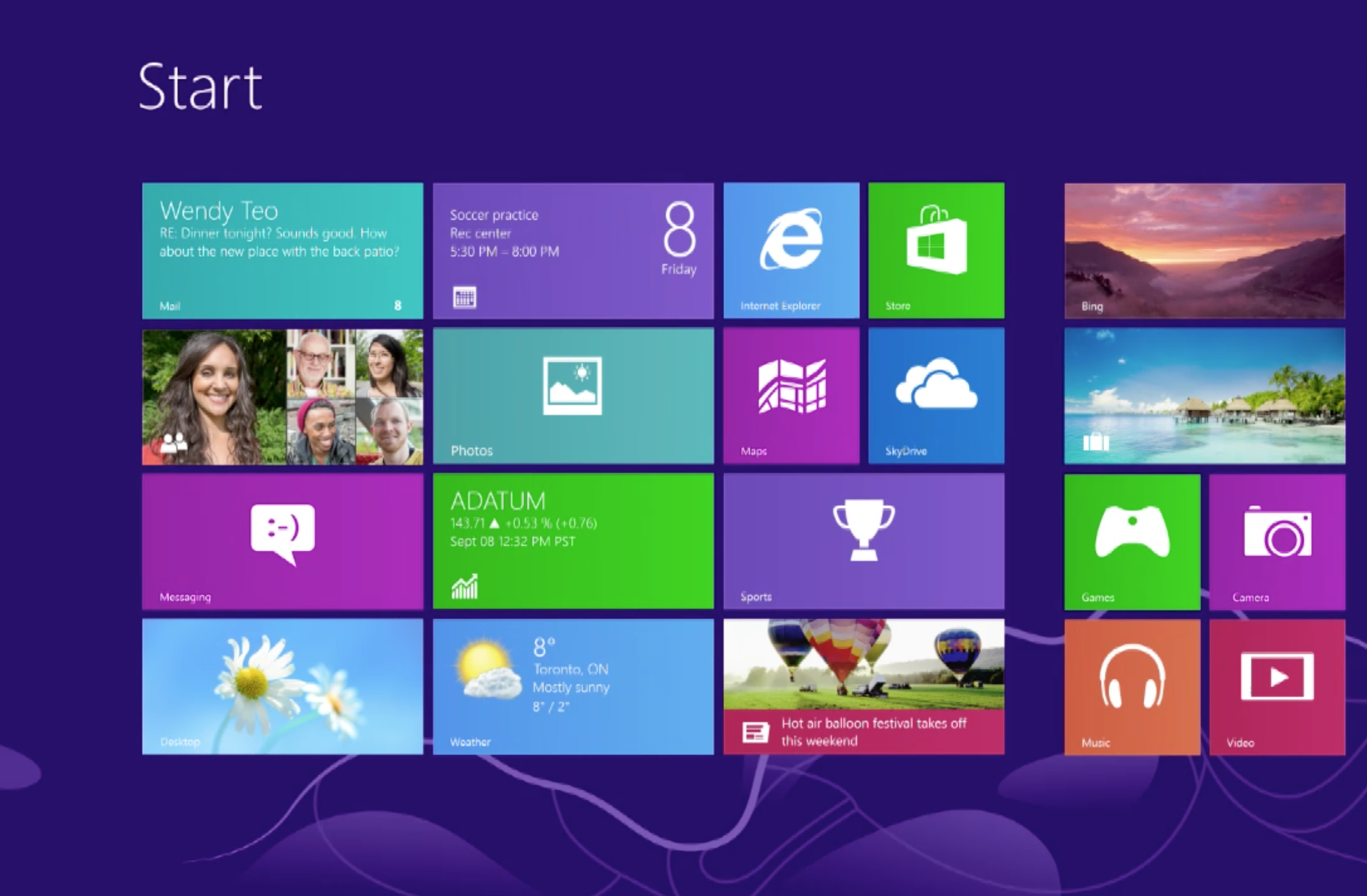 Windows 8 Start screen 2444x1602