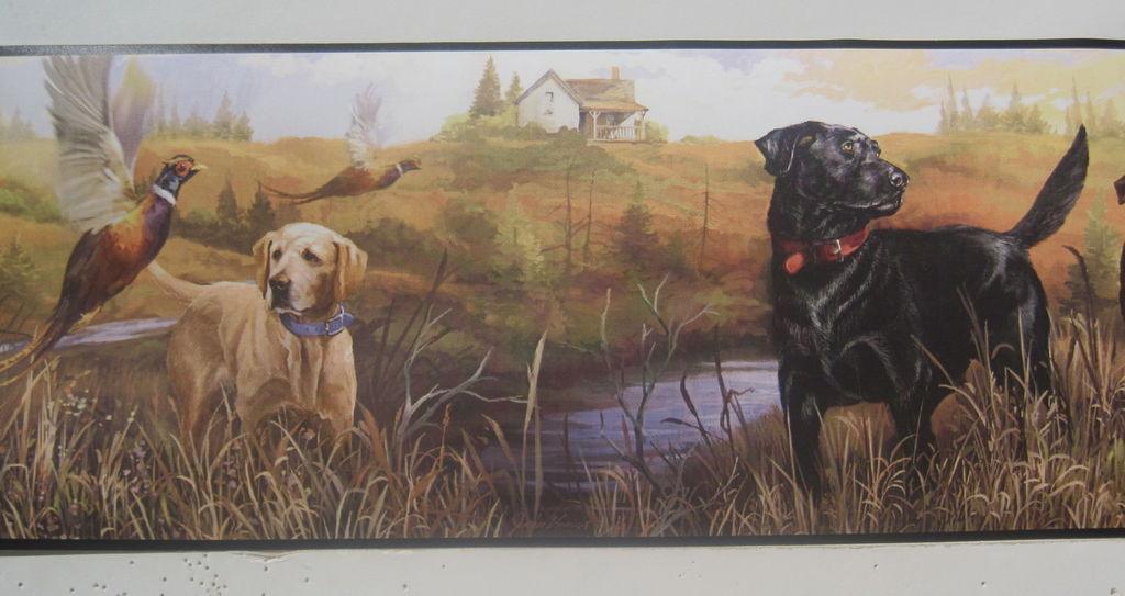 LABRADOR RETRIEVER DOGS PHEASANT HUNTING Wallpaper Border 6 1024x543
