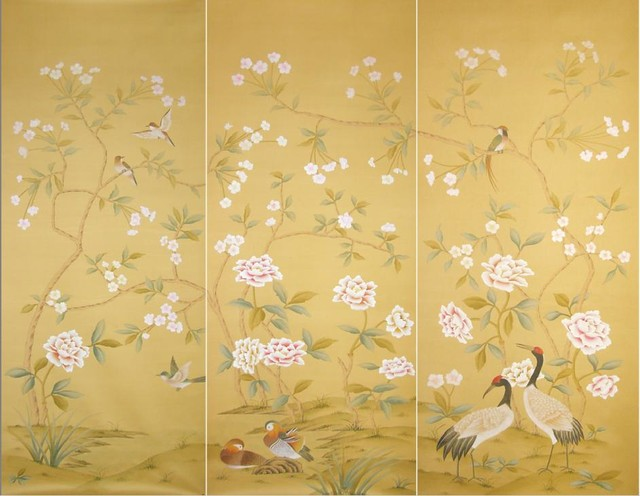 handpainted silk wallpaper   Asian   Wallpaper   other metro   by 640x496