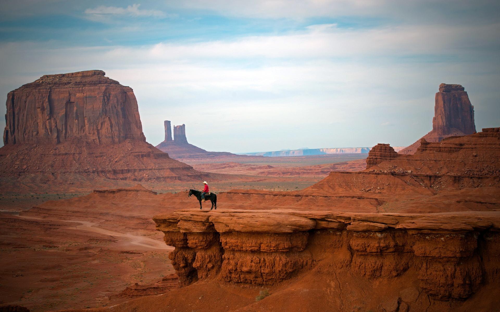 cowboy west hat people places nature landscapes canyon cliffs desert 1920x1200