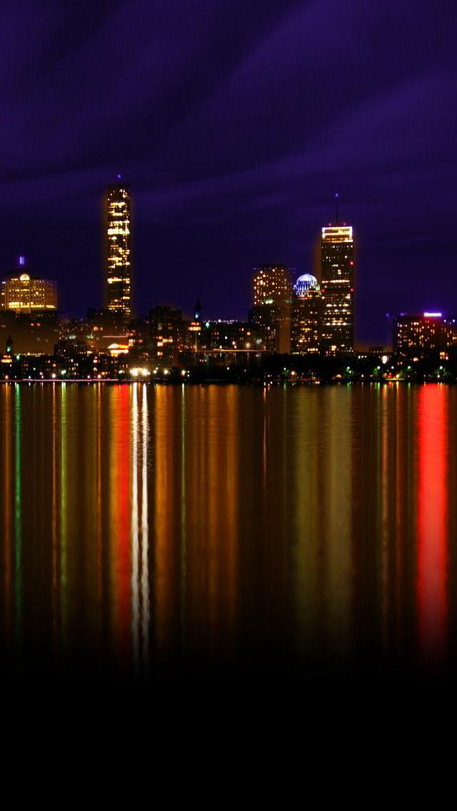 Boston Iphone Wallpaper Boston at night ipodiphone 640x1136