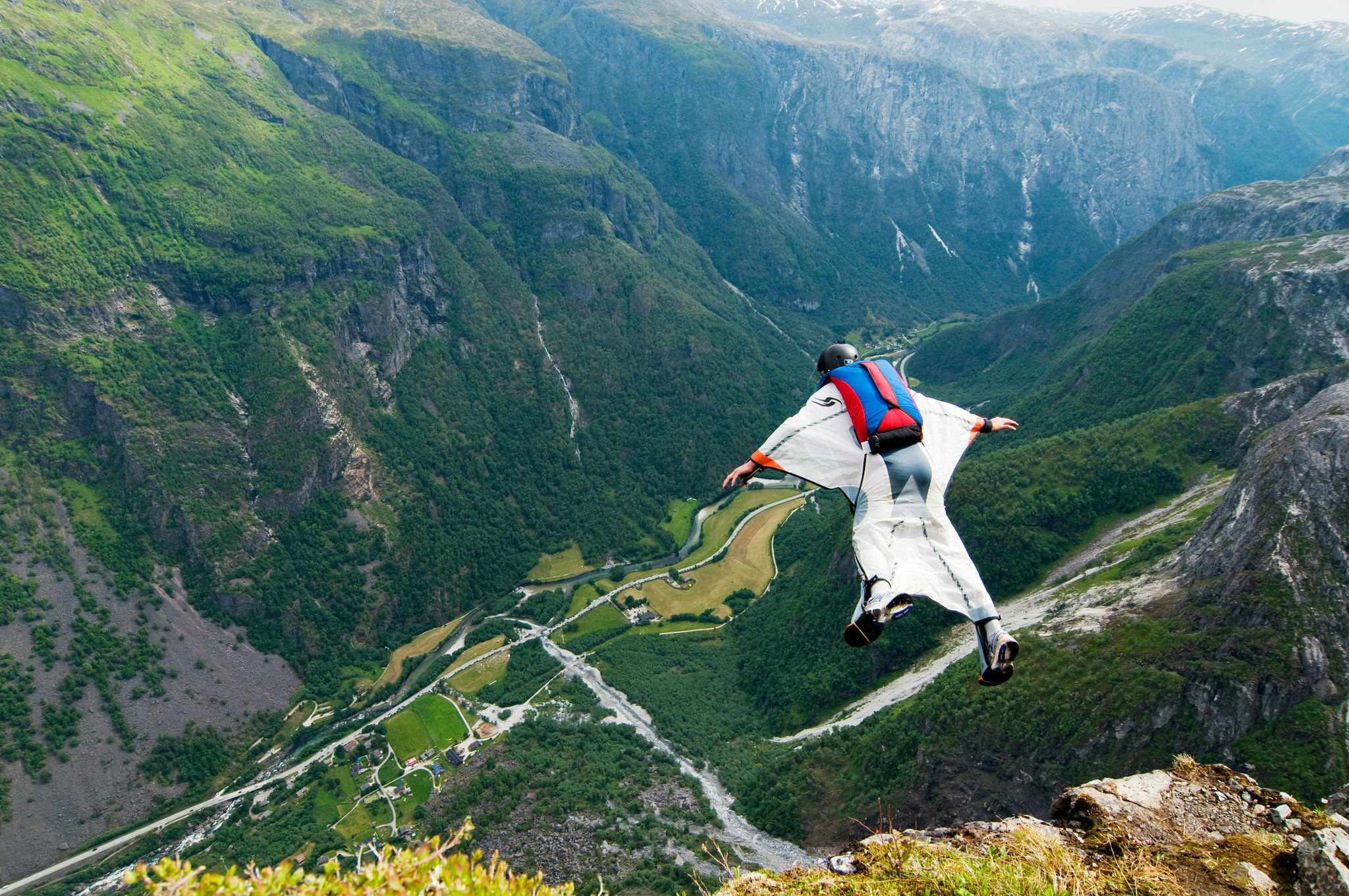 Base jumping wingsuit wallpaper