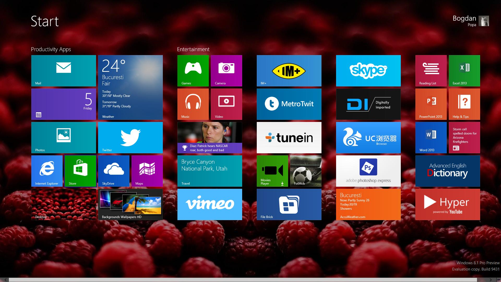 Start screen wallpaper dimming is turned on by default in Windows 81 1920x1080