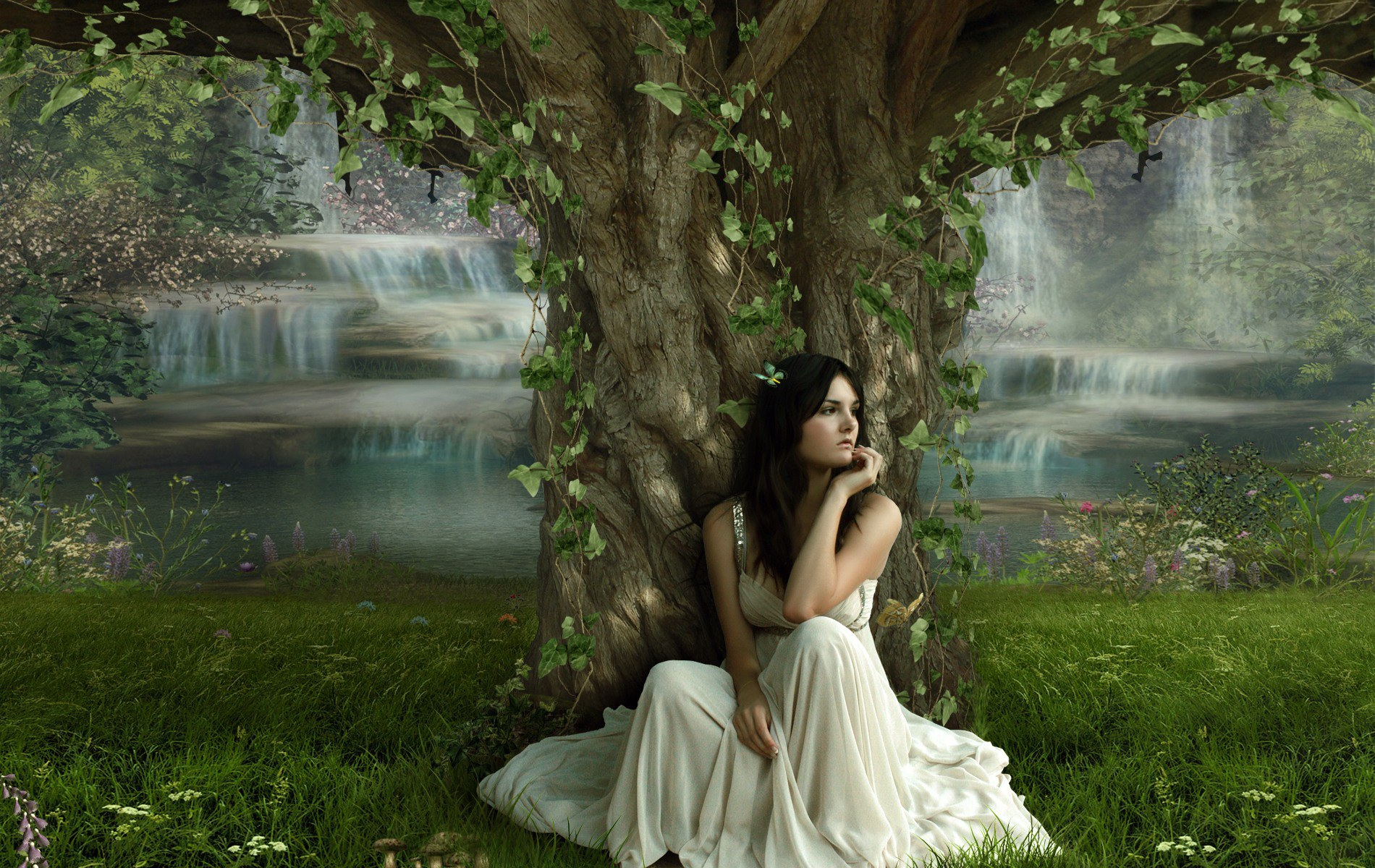 Sad Girl wallpaper under a huge tree 1920x1200 Wallpapers 3d for 1900x1200