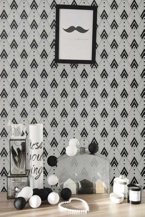 temporary removable wallpaper wall decal   Diamond blackwhite 480x715