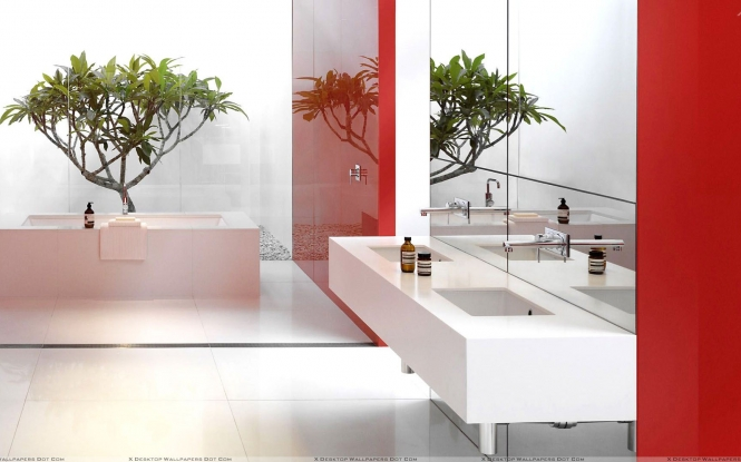 Red and white design in bathroom wallpaper 665x415
