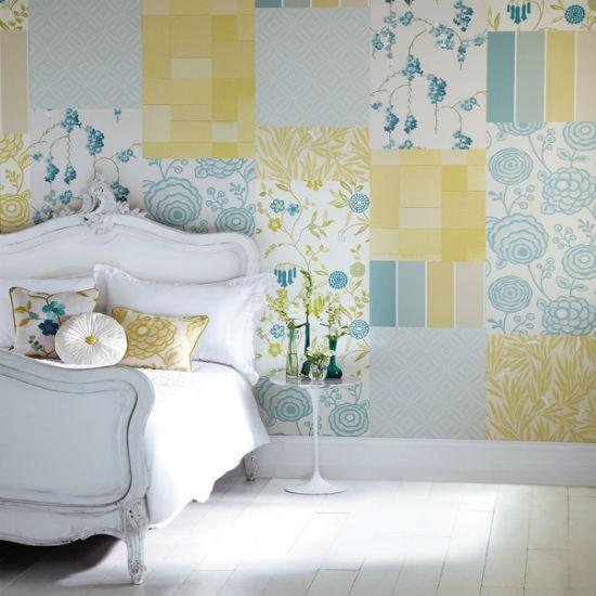patchwork feature wall Statement wallpaper bedroom wallpaper 550x550