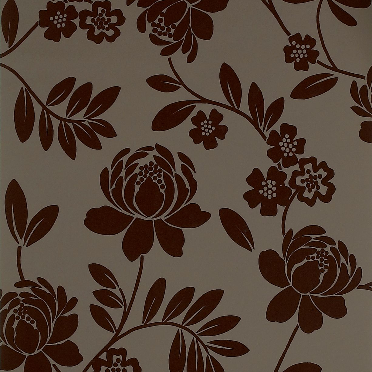 Kristen Floral Brown Flock Wallpaper Departments DIY at BQ 1226x1226