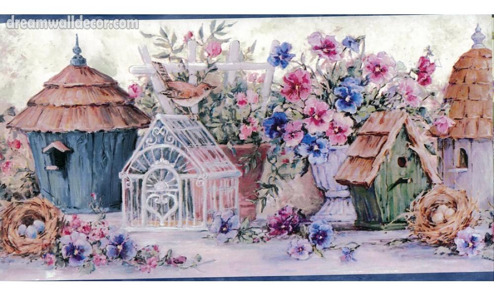Bird Houses Blue Flowers And Bird Houses Wallpaper Border 1000x600