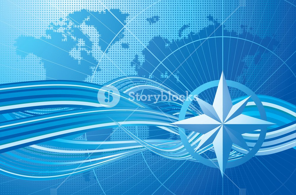 Blue Compass Vector Background Royalty  Stock Image 1000x660