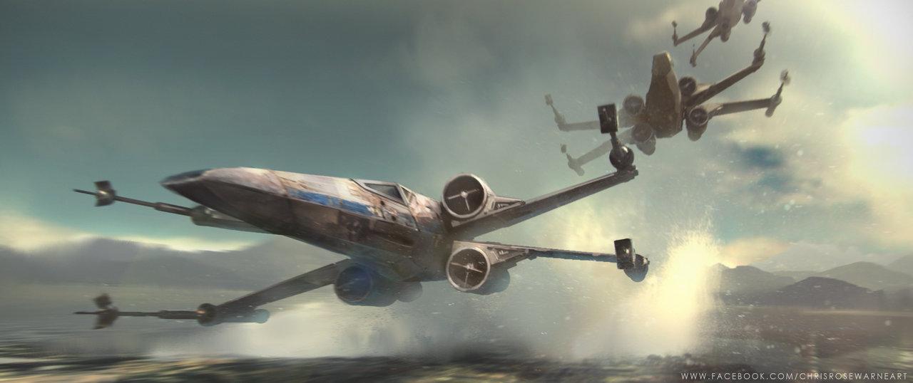 Star Wars X Wings over water by ChrisRosewarne 1280x538