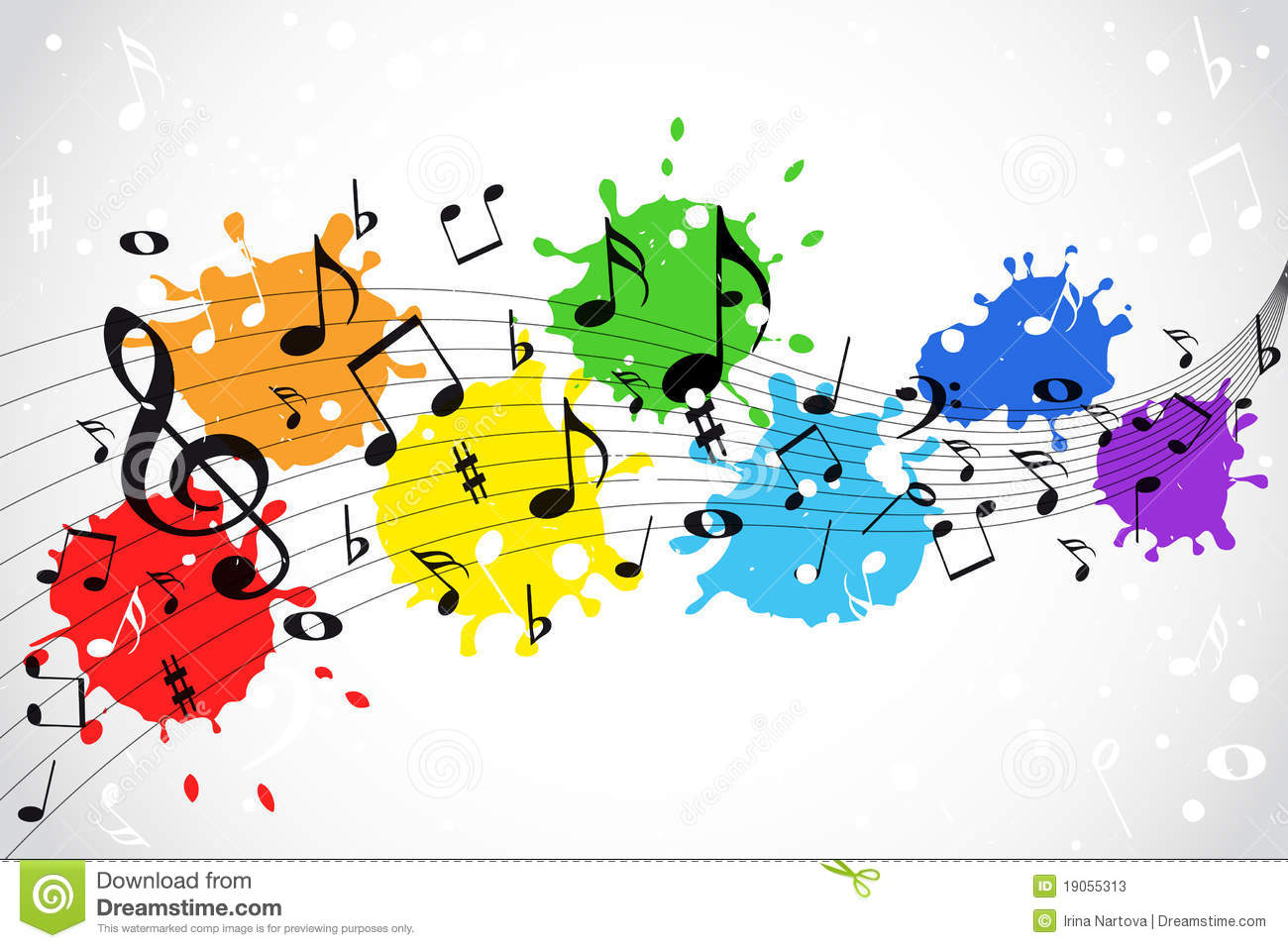 Full Color Music Background: Colorful Music Notes Wallpaper