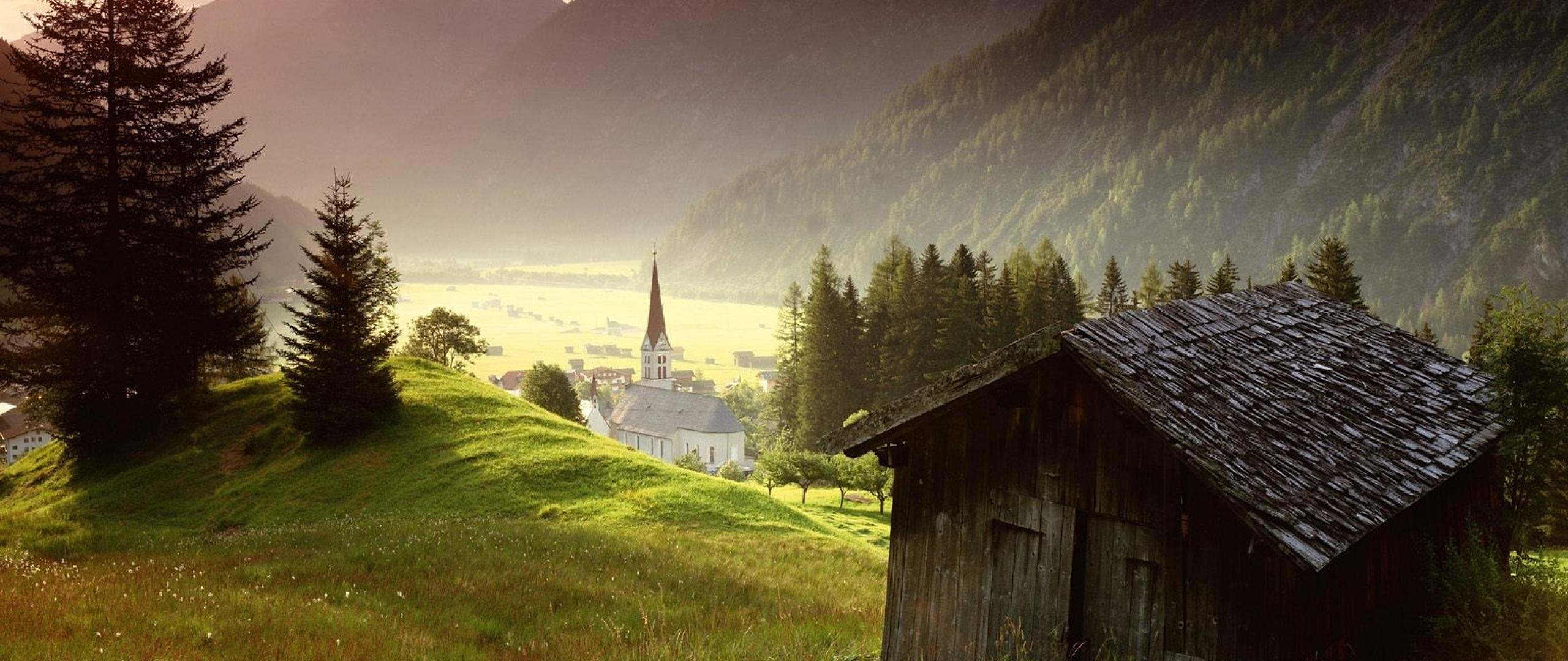 Wallpaper 2560x1080 tyrol austria misty mountain village 2560x1080 2560x1080