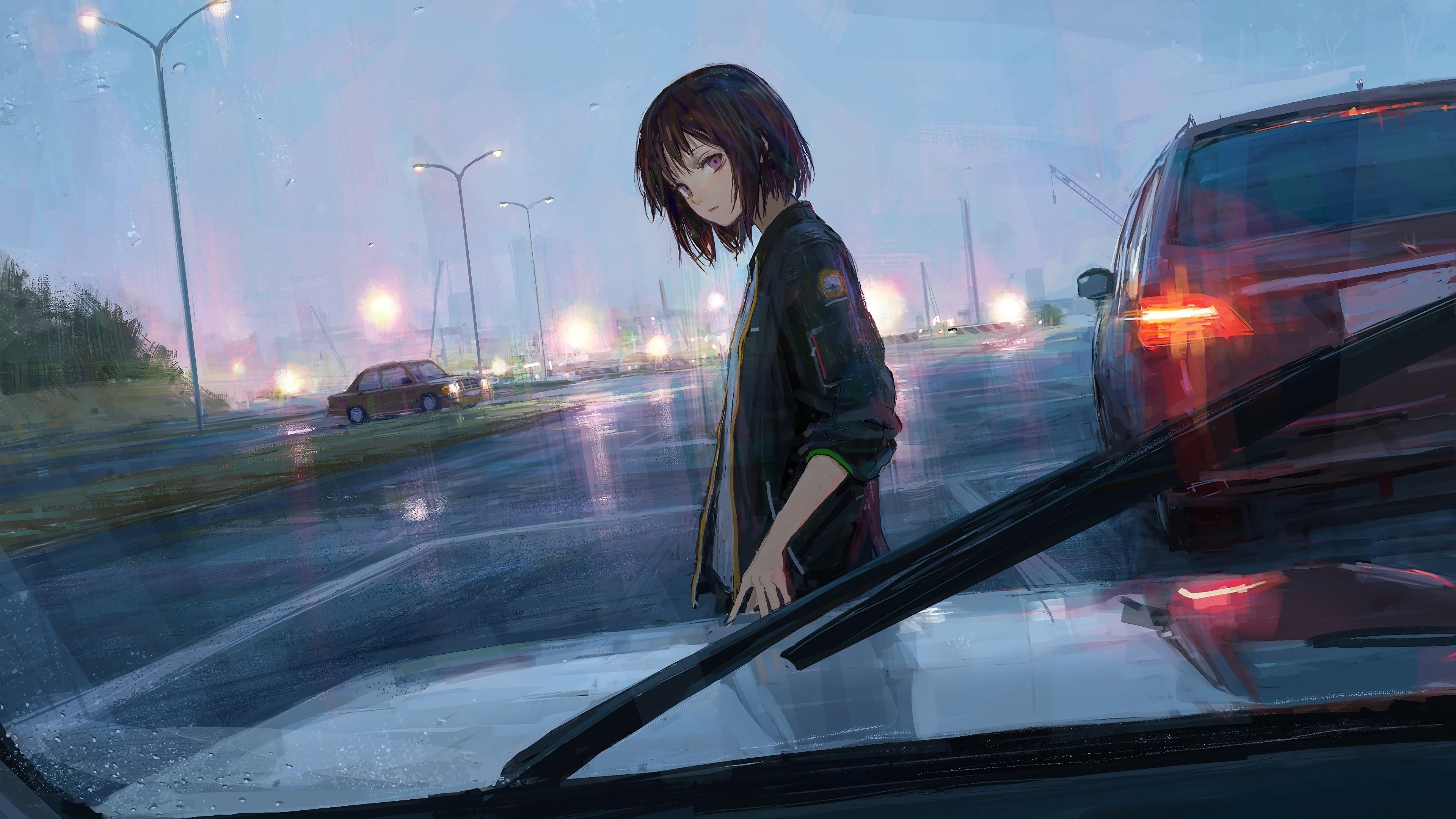 Anime Girl Cars 4K Wallpaper 69 3840x2160