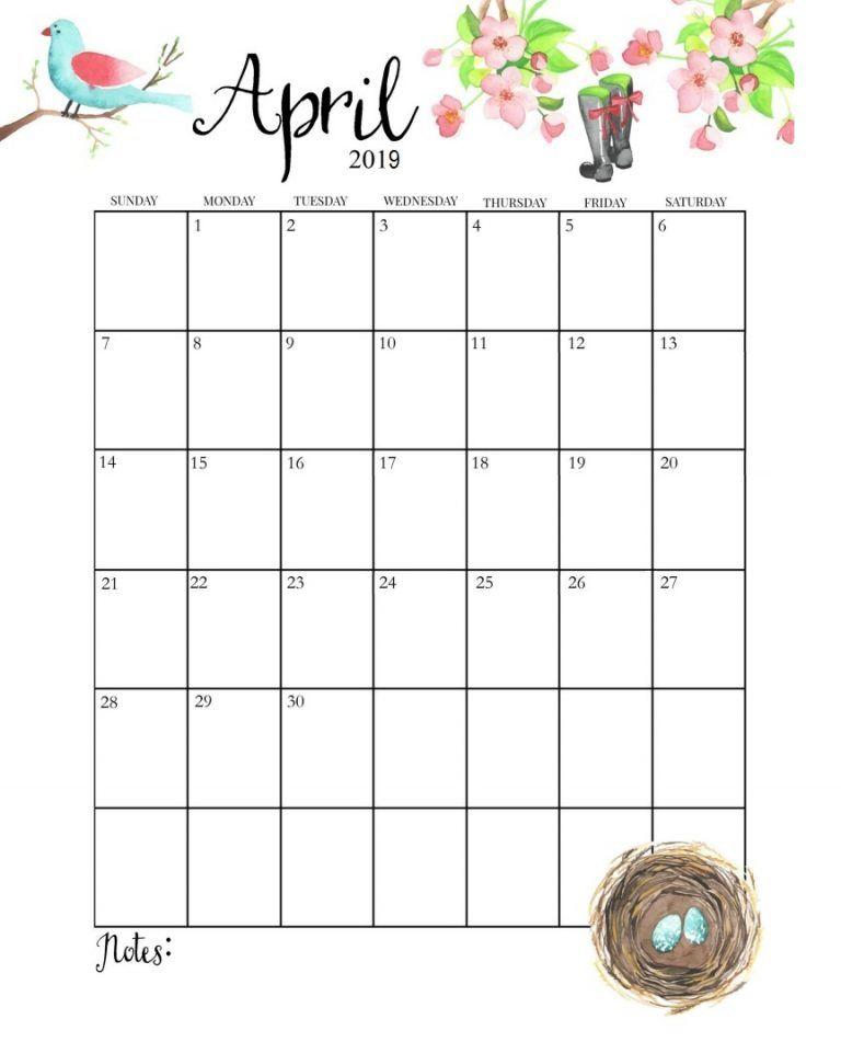 Cute April 2019 Calendar Calendar 2019 April calender April 768x951