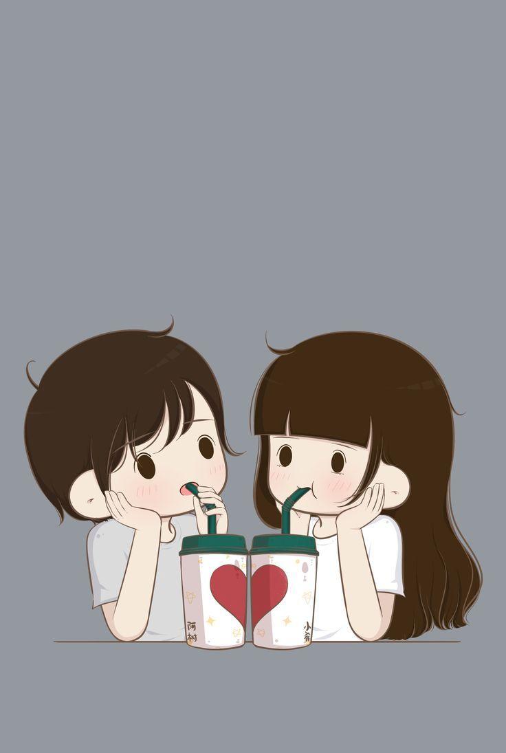 Ngopi yuk in 2020 Cute couple cartoon Cute couple wallpaper 736x1095