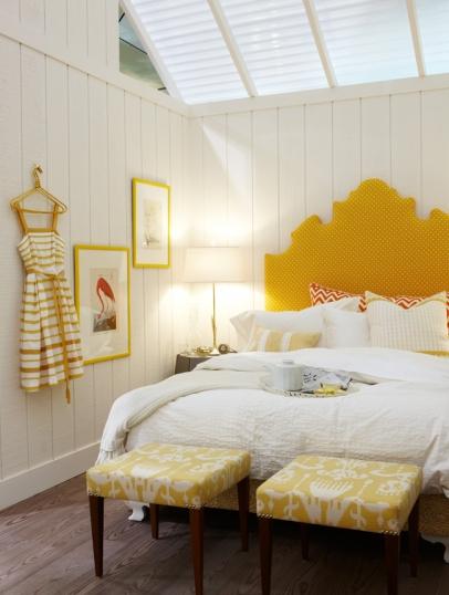 Yellow Headboard   Cottage   bedroom   Sarah Richardson Design 406x538