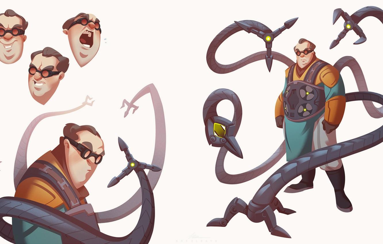 Wallpaper Minimalism glasses tentacles Costume Marvel Spider 1332x850