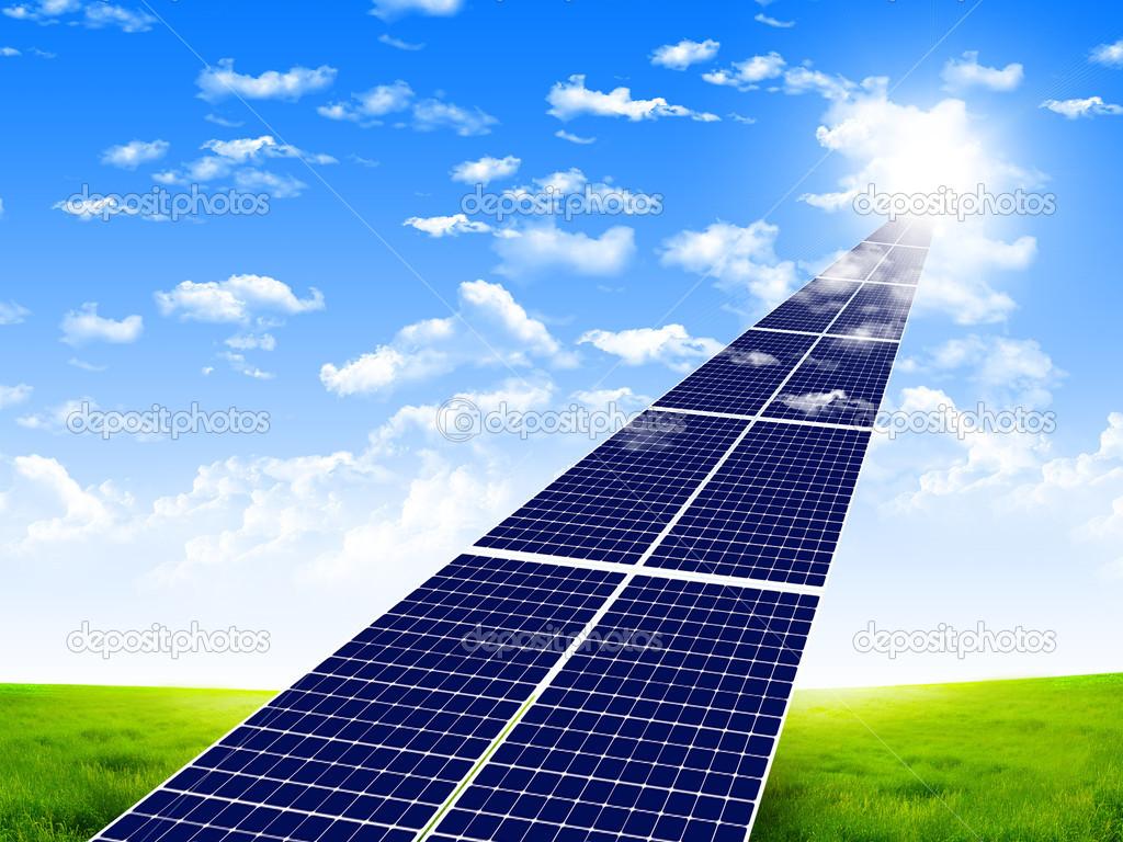 Solar Panel Wallpaper Road from the solar panels 1024x768