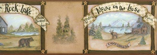 and Moose Wall Paper Border Wallpaper Border   Wallpaper Border 525x184