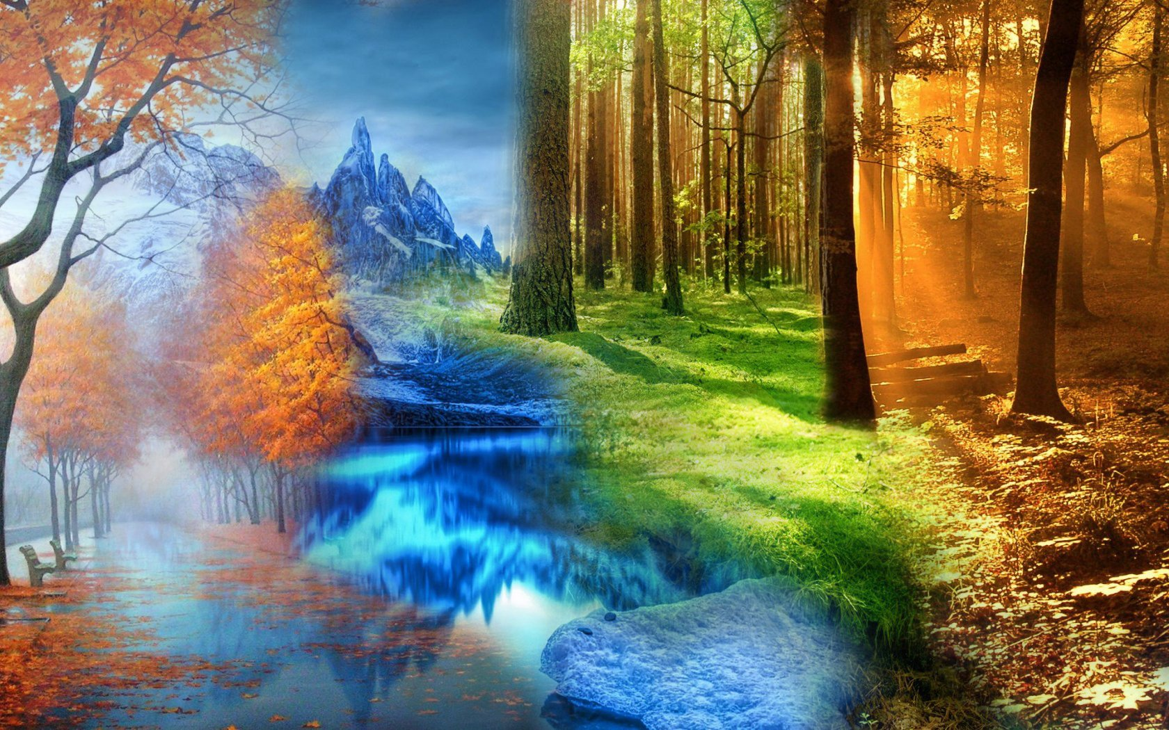 four seasons in one beautiful wallpaper shiftwallpapers Wallpapers 1680x1050