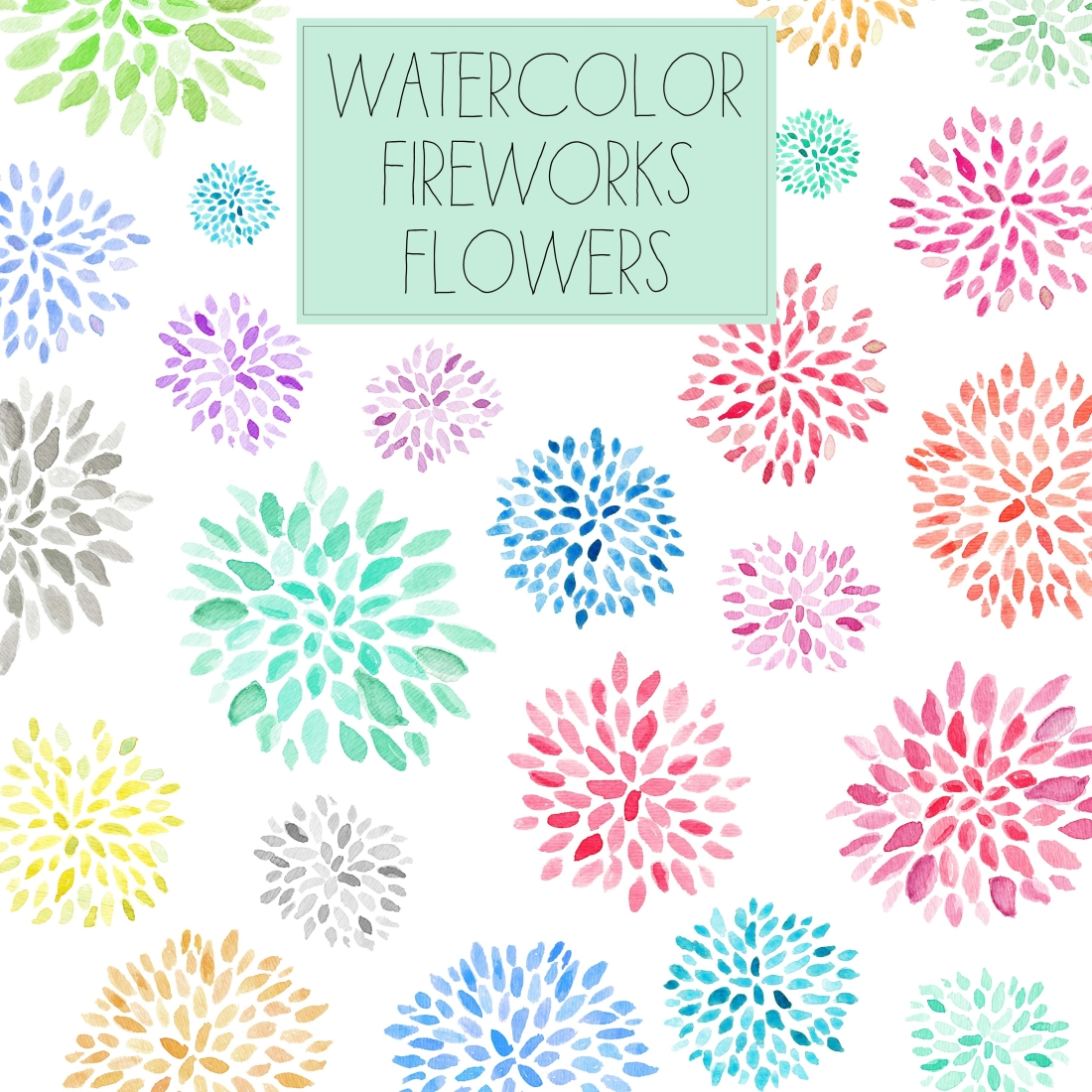 Free Download Watercolor Flower Clip Art Fireworks Flowers
