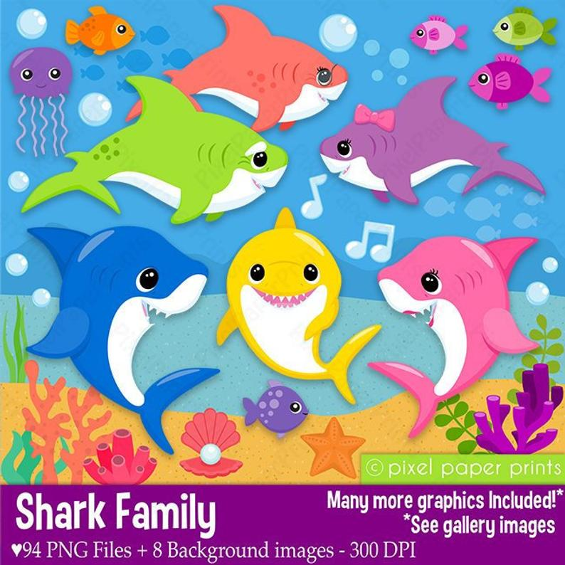 Shark Family Clip Art and Backgrounds Baby Mom Dad Etsy 794x794