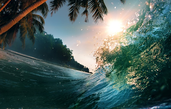 Wallpaper sea wave, beautiful sunset scene, water, splash, tropical ...