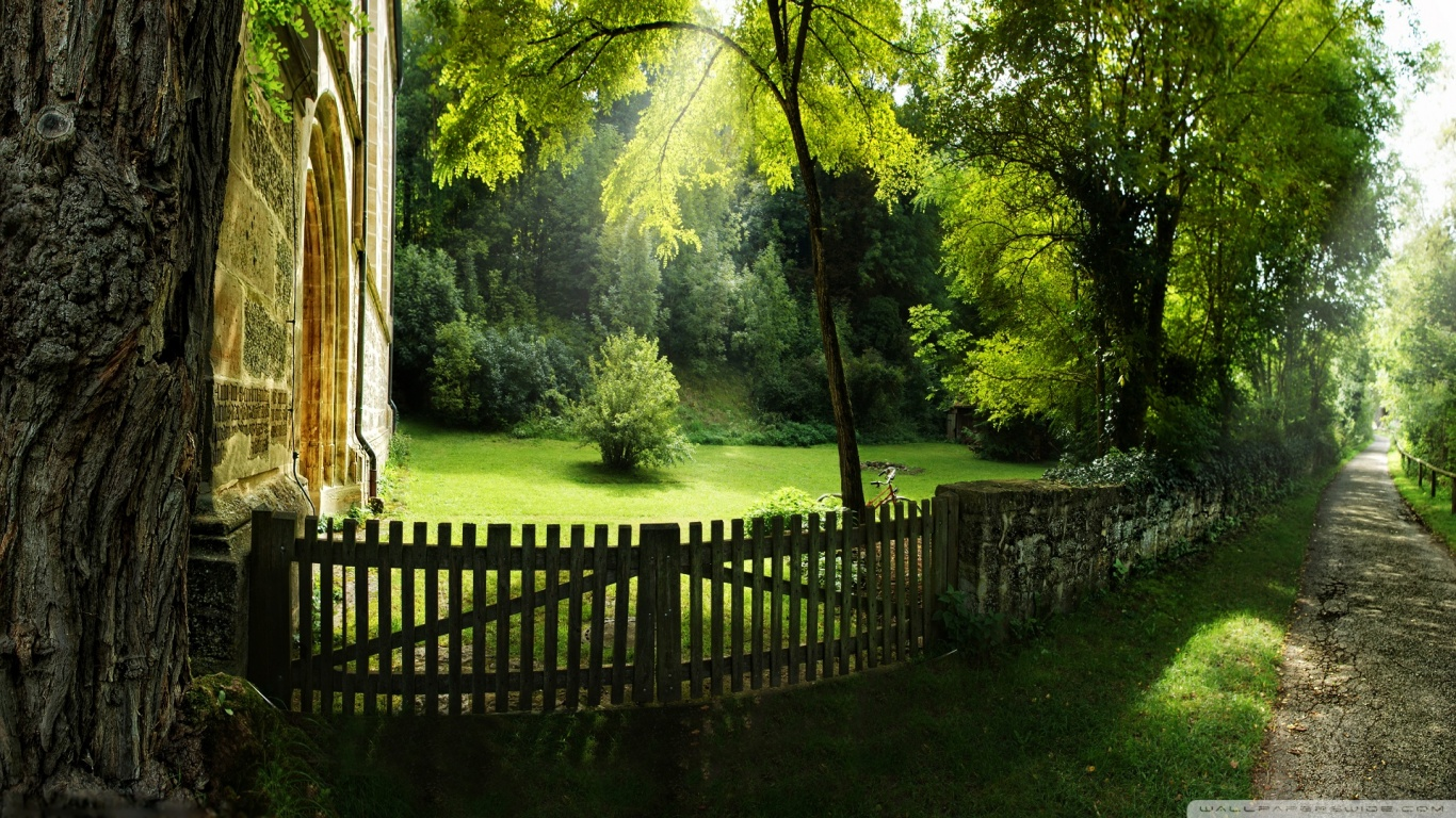 1366x768 Summer pathway desktop PC and Mac wallpaper 1366x768