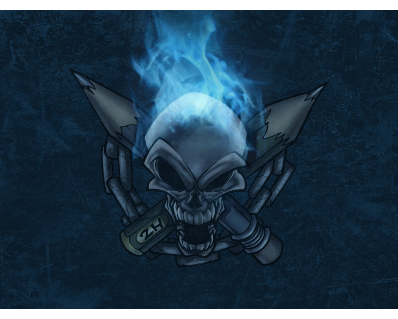Blue Flame Skull Wallpapers 1280x1024 257413