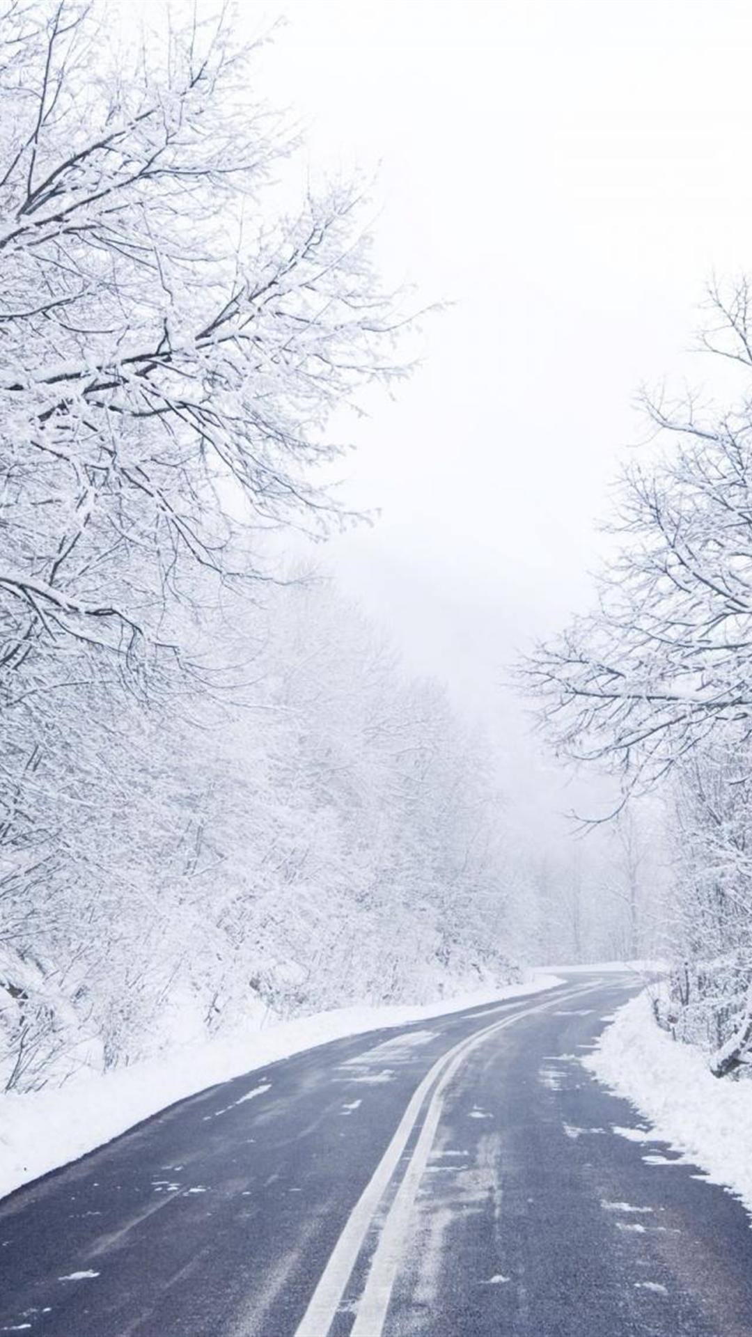 download cold winter road wallpapers for iphone 6 plus 1080x1920