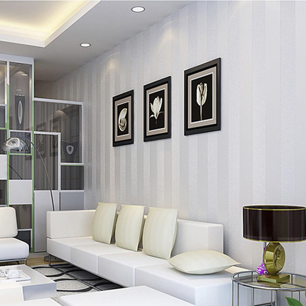 Country Luxury Stripe Wallpaper Roll Cream White Living Room eBay 1000x1000