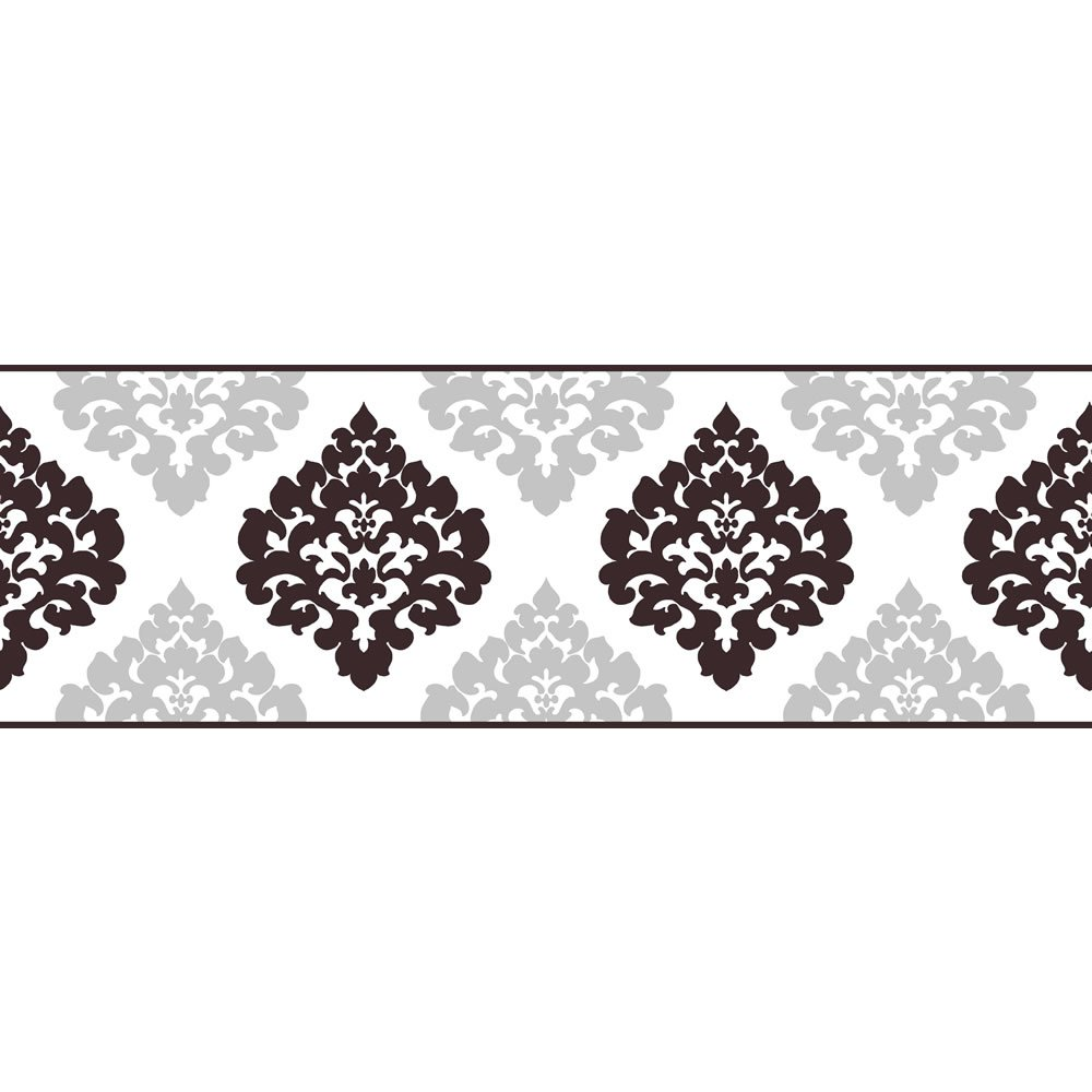 Fine Decor Damask Wallpaper Border BlackSilver 5mx175cm at wilkocom 1000x1000