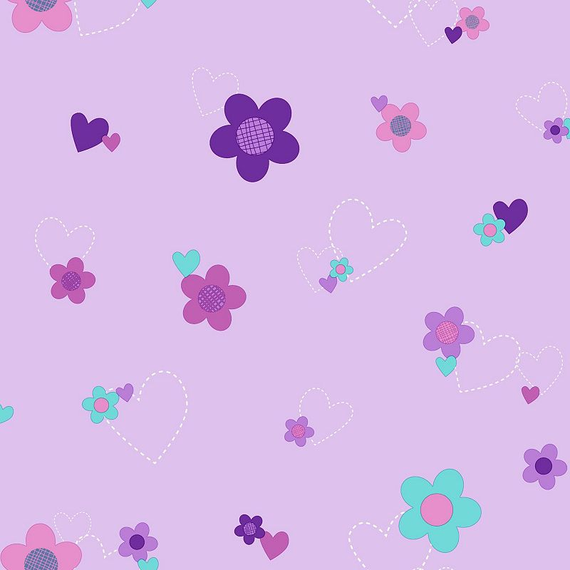 Disneys Flower Hearts Removable Wallpaper 800x800