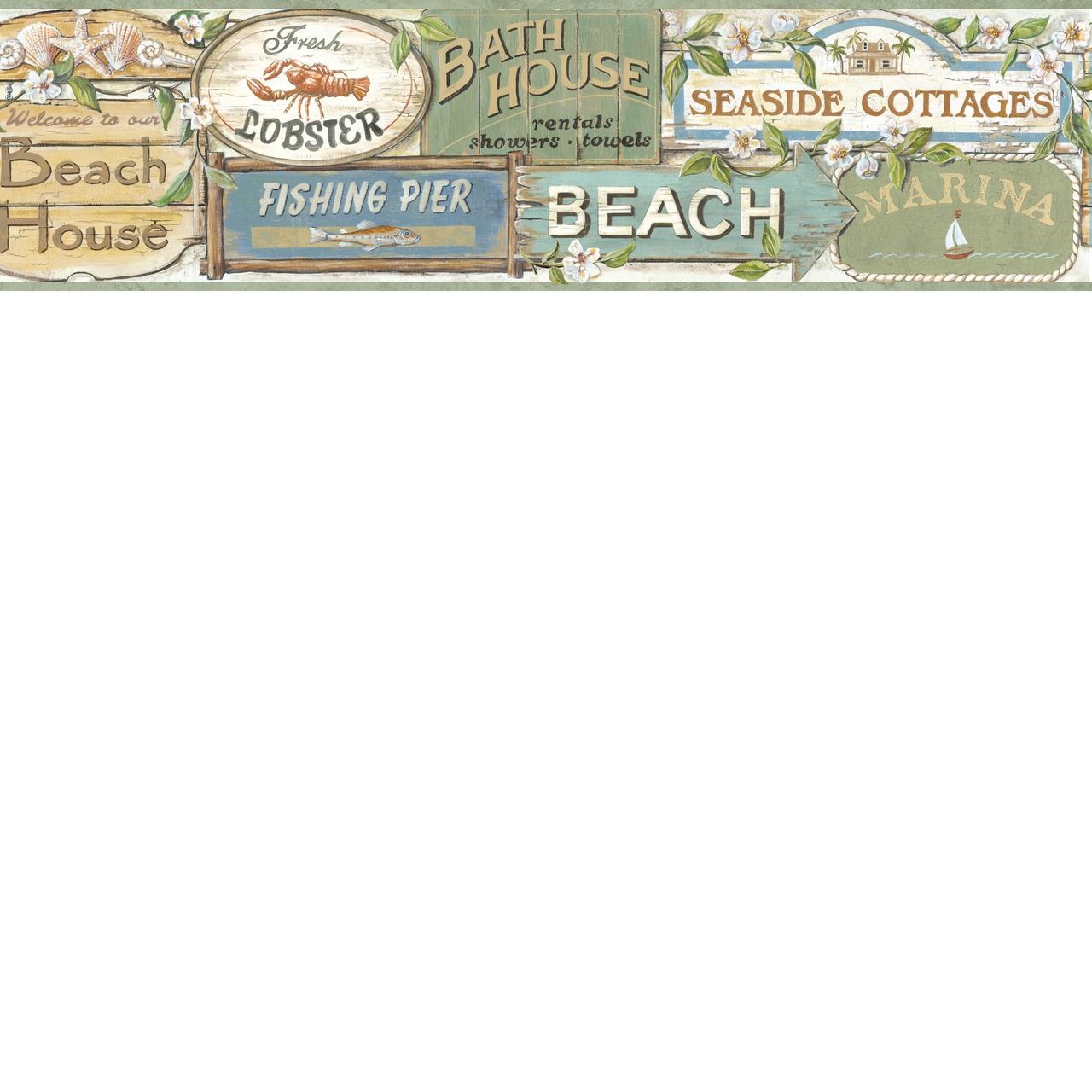 Borders by Chesapeake Seaside Beach Signs Wallpaper Border BBC46023B 1280x1280