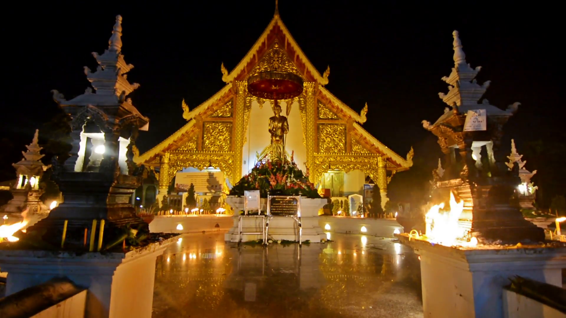 Magha Puja day in Wat Phra Singh Chiang Mai Thailand Empty 1920x1080