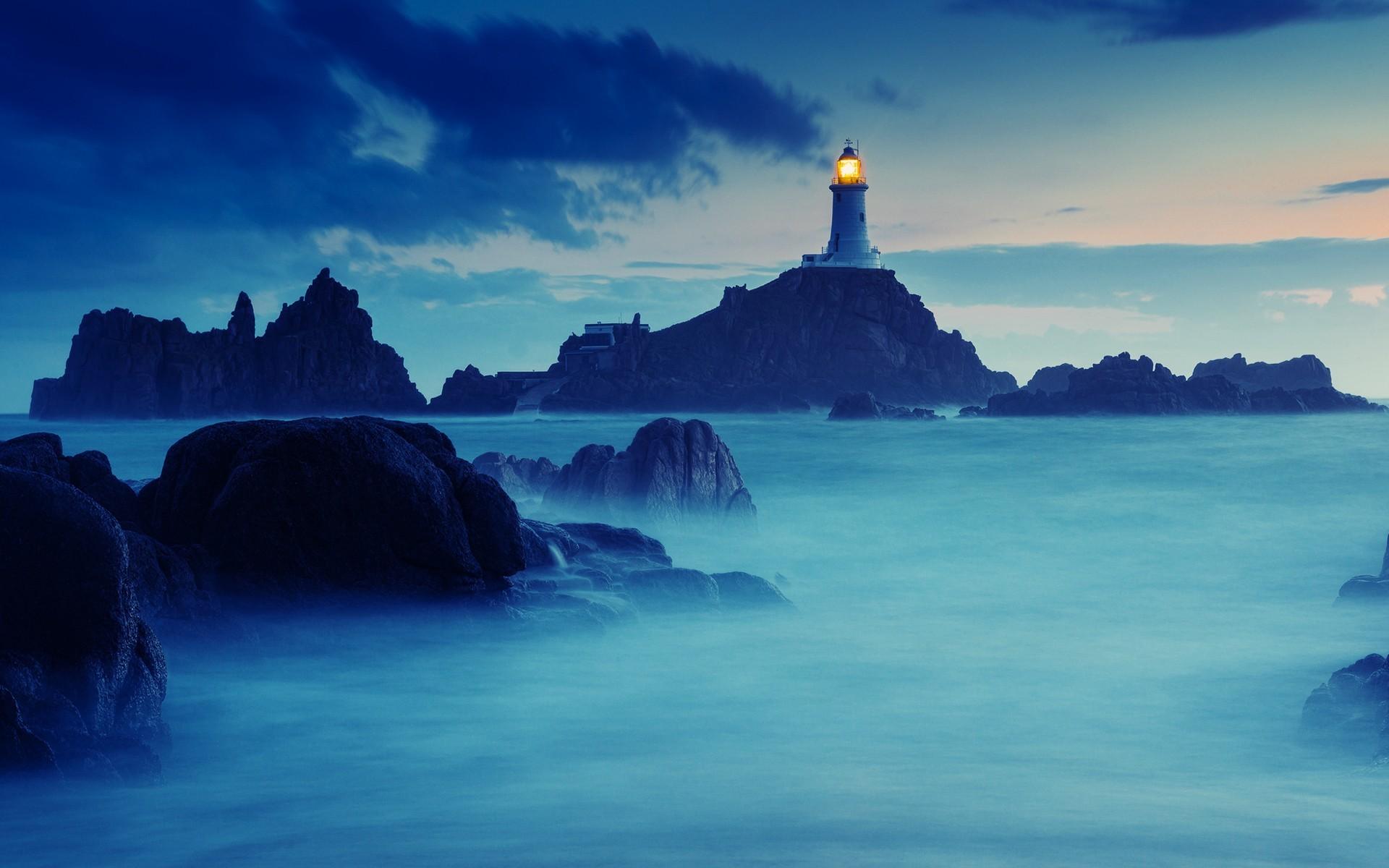 buildings lighthouse lamp light port island rocks stone timelapse fog 1920x1200