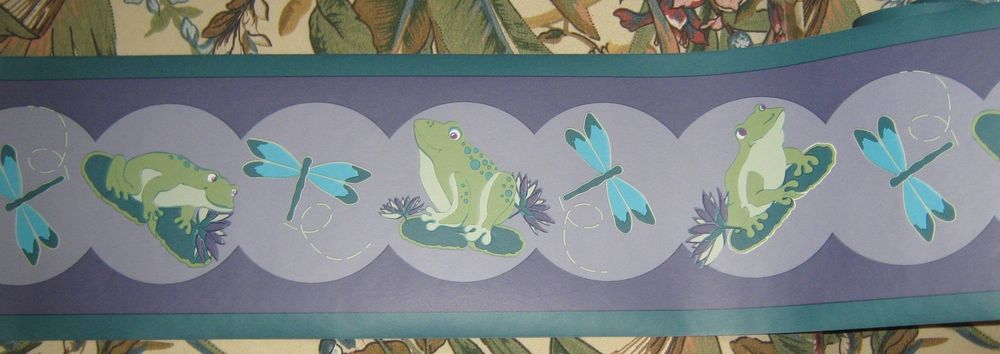 Frogs Dragonflies Wallpaper Border Purple Blue Green eBay 1000x354