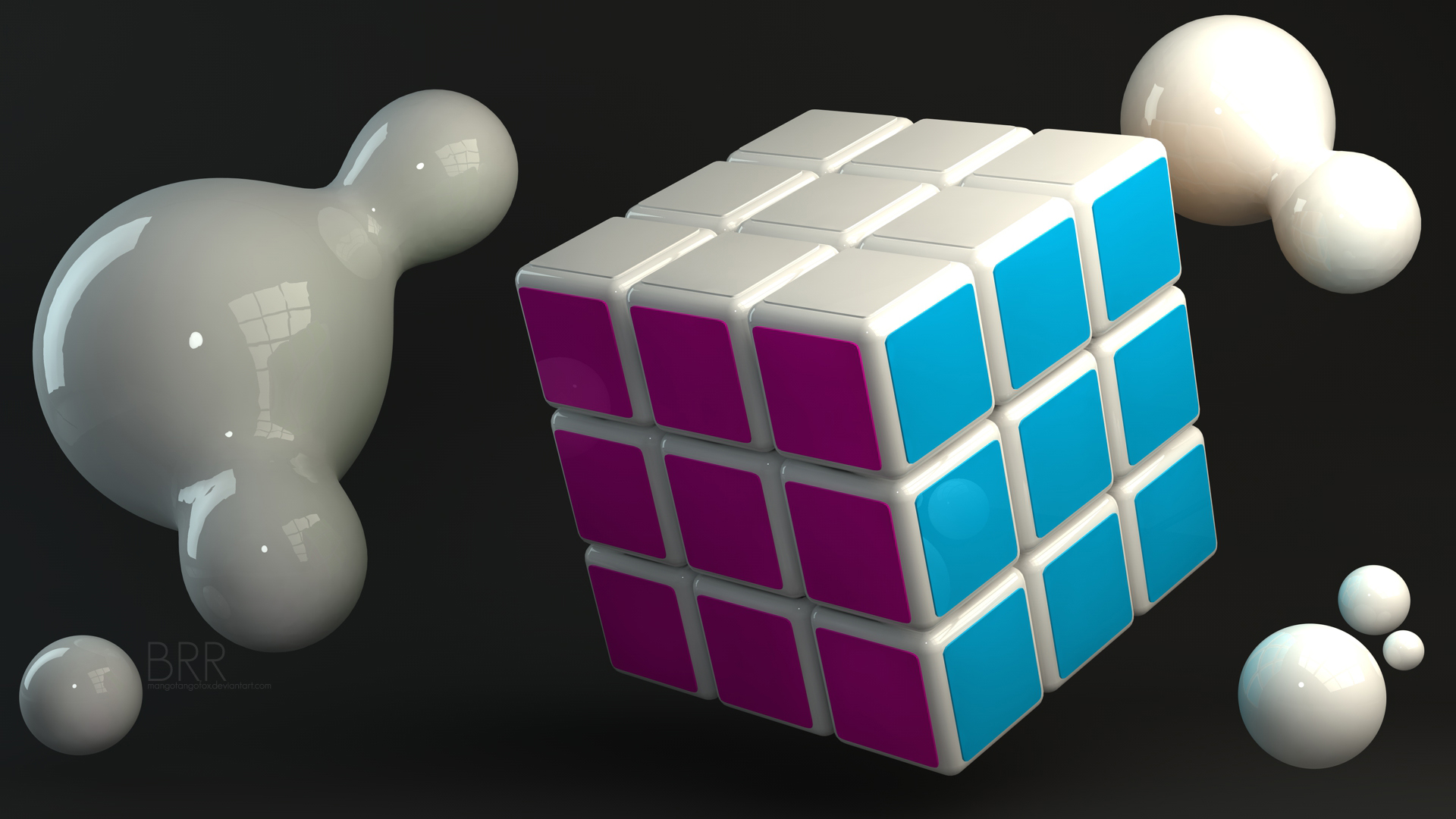 Rubiks Cube Dark by MangoTangoFox on deviantART 1920x1080