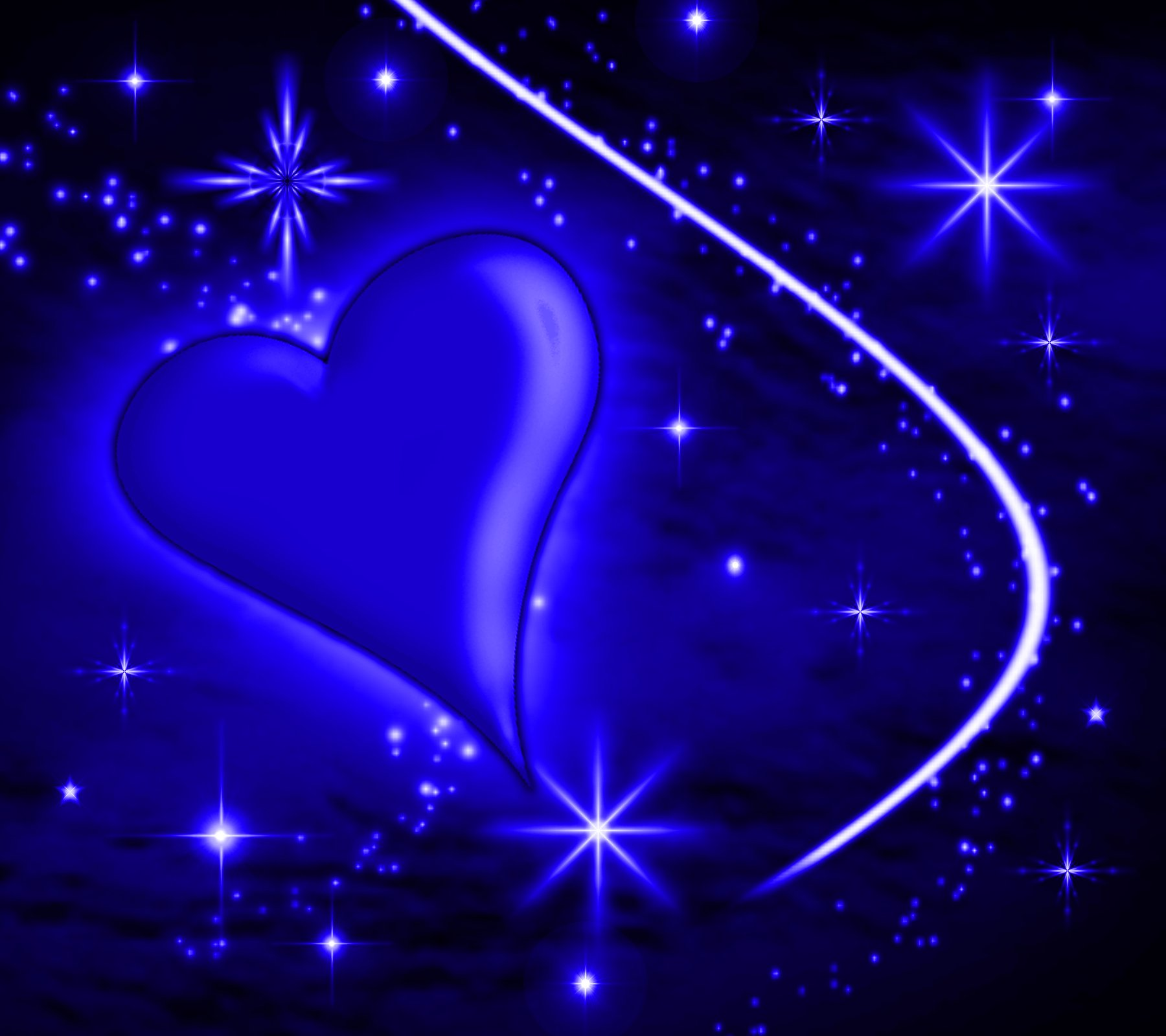 Blue Heart With Plasma Stars Background 1800x1600 Image