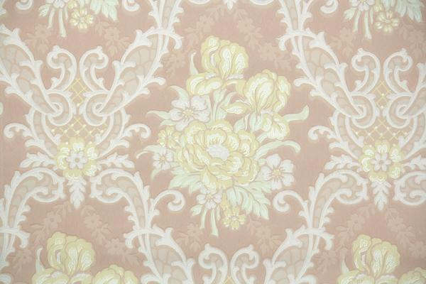 1940s Floral Damask Vintage Wallpaper Hannahs Treasures Vintage 600x400