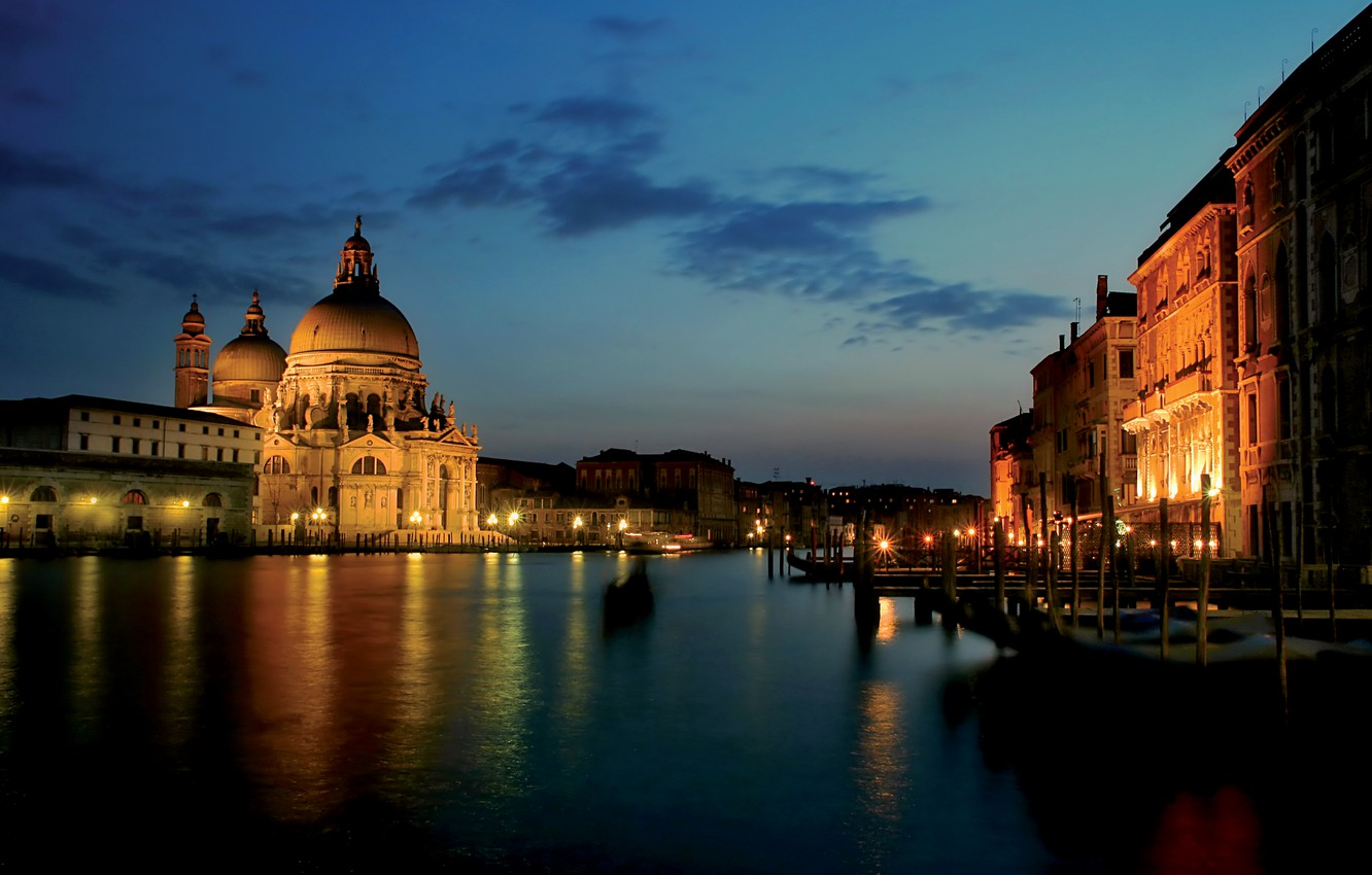 Wallpaper city the city lights Italy Venice channel Italy 1332x850