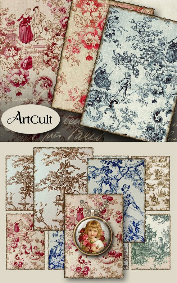 Printable Download OLD FRENCH TAPESTRY 25x35 inch gift tags 570x907